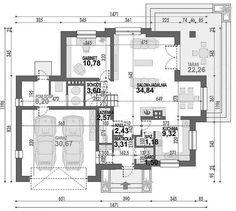 Rzut parteru projektu Opałek III N Home Design Floor Plans, Home And Living, House Plans, House Design, Flooring, How To Plan, House Ideas, Houses, Exterior