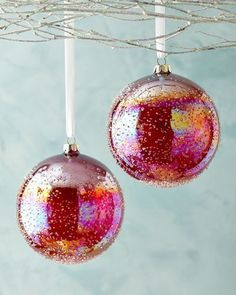 Jim Marvin Red Art Ball Christmas Ornaments, Set of 2