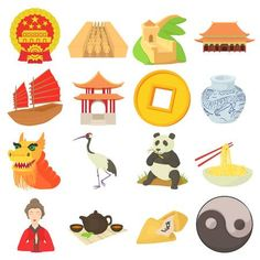 Illustration of China travel icons set. Cartoon illustration of 16 china travel vector icons for web vector art, clipart and stock vectors. Vector Icons, Vector Art, Online English Teacher, Greenhouse Effect, Travel Icon, Banner Printing, Facebook Image, China Travel, Image Photography