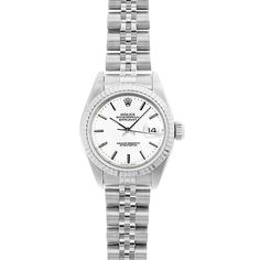 Refurbished Pre-Owned Rolex Women's Datejust 26mm Stainless Steel Stick Dial Watch Model 69174