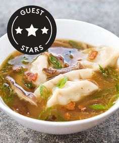 A quick and easy recipe for Asian-Style Dumpling Soup from America's Test Kitchen. Chicken Dumpling Soup, Dumplings For Soup, Chinese Dumpling Soup, Chicken Soup, Kitchen Recipes, Soup Recipes, Cooking Recipes, Dinner Recipes, American Test Kitchen