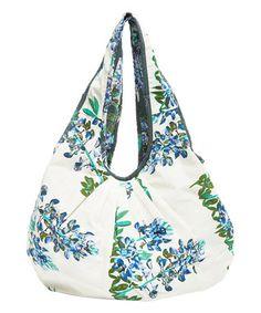 Blue Bonnet & White Floral Reversible Cotton Hobo