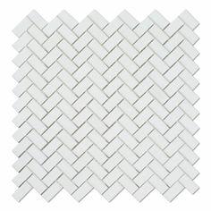 $17.99 Thassos White Marble Polished Mini Herringbone Mosaic Tile