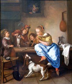 Jan Steen (Dutch, c. 1626 – 1679) 'Children teaching a cat to dance'
