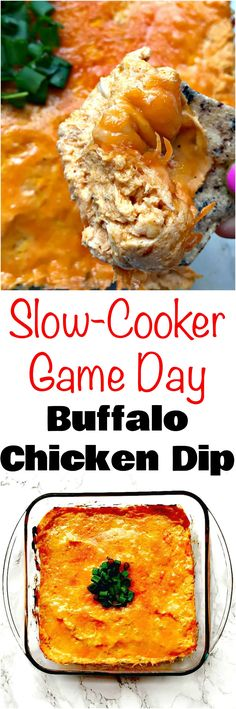 Easy Slow-Cooker Low-Carb Buffalo Chicken Dip is the perfect skinny crockpot appetizer recipe with cream cheese and Franks Red Hot Buffalo sauce perfect for holidays the Superbowl game day tailgates parties and events. Crock Pot Recipes, Slow Cooker Recipes, Low Carb Recipes, Cooking Recipes, Healthy Recipes, Diabetic Recipes, Ww Recipes, Banting Recipes, Diabetic Snacks