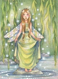 Fairy art by Carmen Keys Medlin. Sparkles dance on the water and in the leaves of the weeping willow tree, and a little willow fairy dances along to the sound. Fairy Land, Fairy Tales, Fairy Paintings, Love Fairy, Art Portfolio, Whimsical Art, Fantasy Creatures, Faeries, Art Day