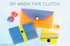 DIY: Washi Tape Clutch from a clear office supply envelope!