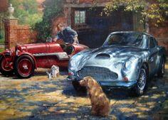"Online veilinghuis Catawiki: Art Lithograph - ""Thoroughbred Stable"" - 1934 Aston Martin Ulster 1500cc and an Aston Martin DB4 GT  : Artist Alan Fearnley 1997"