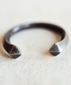 Made Her Think Open Spike Ring in Oxidized Silver via Bona Drag