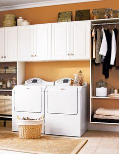 Love the set up. However, My washer and dryer are front loaders with buttons on front. Therefore I could have a folding table made on top. LOVE THE IDEA!