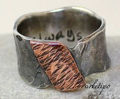 Personalized sterling silver and copper ring