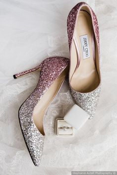 Glamorous wedding shoes - Silver + pink glitter ombre wedding shoes  {Stephanie Axtell Photography}