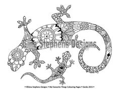 Frog and Lizard or Gecko Adult Colouring Pages by LoveToColour