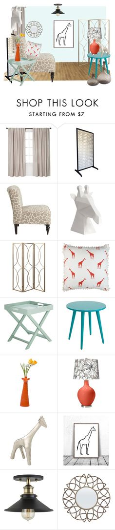 """Giraffe Print Interior Design"" by sierrrrrra ❤ liked on Polyvore featuring interior, interiors, interior design, home, home decor, interior decorating, Pier 1 Imports, Elise & James Home, Global Views and coral"