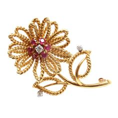 TIFFANY  CO. Diamond Ruby Yellow Gold Flower Brooch   From a unique collection of vintage brooches at http://www.1stdibs.com/jewelry/brooches/brooches/