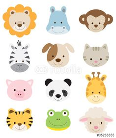 Vektor: Baby Animal Faces Set