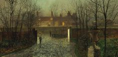 John Atkinson Grimshaw (British painter) 1836 - 1893 Arriving at the Hall, 1878 oil on board 22 x 44 cm. x 17 in. Sale Artwork, Landscape Paintings, Impressionist Art, Cityscape, Night Scene, Atkinson Grimshaw, Painting, Painting Reproductions, Art And Architecture