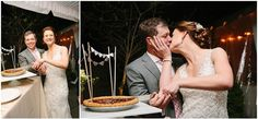 Instead of a wedding cake, the couple cuts a wedding pie.