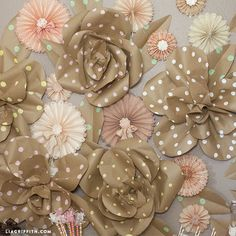 Large paper flowers, roses