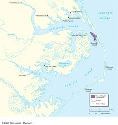 (1585) Roanoke Colony Roanoke Colony, Roanoke Island, England Map, Indian Village, Ocean Sounds, Tudor, Charts, Maps, United States