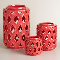 Reminiscent of fine pottery, our vibrant ceramic hurricane features a lattice cutout pattern that transforms candlelight into an intriguing play of light and shadow. >> #WorldMarket #OutdoorLiving #WorldMarketLove4Outdoors