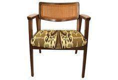 Midcentury Cane-Back Chair w/ Ikat Seat on OneKingsLane.com