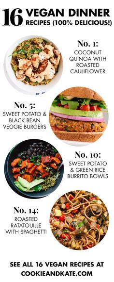 Delicious Vegan Dinner Recipes Find 16 healthy and delicious vegan dinner recipes at !Find 16 healthy and delicious vegan dinner recipes at ! Vegan Dinner Recipes, Veggie Recipes, Whole Food Recipes, Vegetarian Recipes, Cooking Recipes, Healthy Recipes, Shrimp Recipes, Couscous Recipes, Mexican Recipes