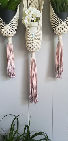 Macrame wall hanging triple plant holder / ombre macrame plant