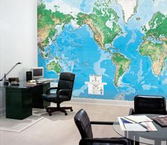 Map decal in an office setting. These will cover my first companies' walls.