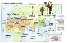 Mapa del comercio mundial hasta 1450.