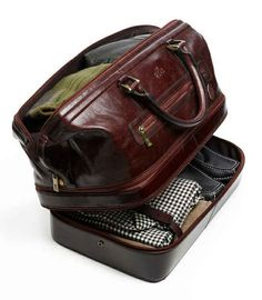 Leather Duffle Bag with Bottom Compartment