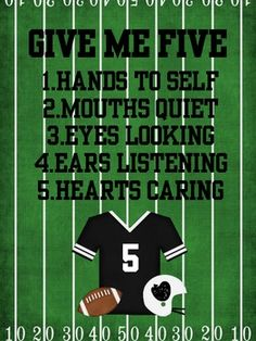 I love this chart, i already have it printed for next year! Give Me Five Chart Football Theme