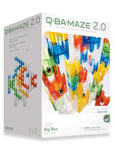 Q-Ba-Maze 2.0 Big Box 92 Piece Marble Run Maze Building Set | This set from MindWare comes with an assortment of cubes with different exits: bottom exit, side exit, top exit. All it takes is a little imagination and sense of wonder to construct lots of crazy creatures and stupendous structures for marbles to fall, bounce, and roll through and satisfying, look-what-I-built play.