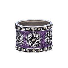 Sterling Marcasite & Purple Enameled Ring