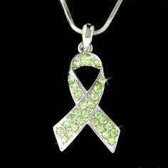 Swarovski Crystal Lime Green Honor Newtown victims Lymphoma cerebral palsy Awareness Lyme Disease STD Ribbon Pendant Charm Necklace Gift