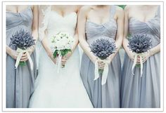 love the simple lavender in the bridesmaids, thinking a little bit in the brides?