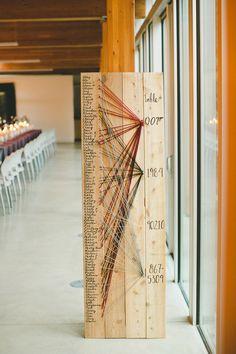 string art seating chart, photo by Shari + Mike Photographers http://ruffledblog.com/pacific-northwest-rainforest-wedding #weddingideas #seatingchart #escortcard