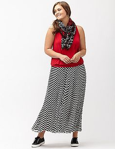 An easy, breezy maxi skirt is your ticket to effortless chic all Summer long and in bright chevron stripes, this one is a definite must! Pleated chiffon with a knit liner. Elastic waist. lanebryant.com