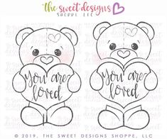Select your Set Size: Large ( Longest Side) Assembled: Tall x Wide or Medium ( Longest Side) Assembled: Tall x Wide or Mini Longest Side) Assembled: Tall x Wide ***Please keep in mind that if your cookie recipe has any spreading, the measurements wil Bear Valentines, Valentine Cookies, Coloring Sheets, Coloring Pages, Bear Cookies, Cookie Designs, Cookie Ideas, Handmade Flowers, Cute Art