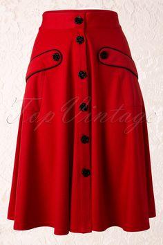 Vixen - 50s Vintage Black Rose Swing Skirt in Red