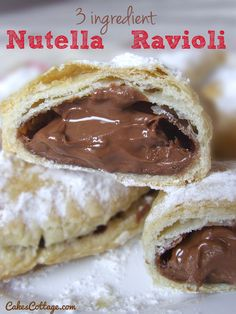Three Ingredient Nutella Ravioli - 3 main ingredient delicious, crispy, chocolate-y, Nutella ravioli- such an easy and quick dessert!