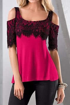 Square Neck Cold Shoulder Lace Patchwork T-Shirt
