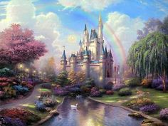Cinderella - A New Day at the Cinderella Castle - Thomas Kinkade - World-Wide-Art.com #Disney #Kinkade