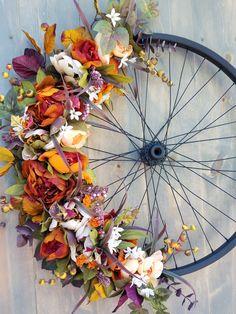Bicycle Wheel Wreath, Summer Bike Wheel Wreath, Spring Peony Wheel Wreath, Upcycled Bicycle Wheel, B Bicycle Wheel Decor, Bicycle Art, Bike Wheel, Wagon Wheel, Unique Housewarming Gifts, Fall Wreaths, Summer Wreath, Diy Painting, Diy Art