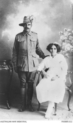 WWI: Studio portrait taken on their wedding day of 50246 Trooper William Allen and his bride, the former Miss Madeline Ferguson. Trooper Allen, originally from Darwin, Australia, served in the Light Horse Regiment. World History Teaching, World History Lessons, History Magazine, Aboriginal People, Anzac Day, American Civil War, American History, Native American, Studio Portraits