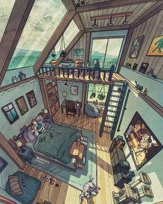 Aesthetic Rooms, Aesthetic Art, Home Room Design, House Design, Japon Illustration, Building Illustration, Sims 4 Houses, Scenery Wallpaper, Anime Scenery