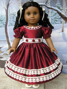 American Girl mid1800s gown  garnet silk and vintage by dolltimes
