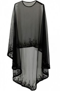 Black floral beads embroidered cape