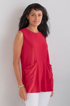 Claudia Tunic by Comfy USA . With the fluid drape and wrinkle-free ease of matte jersey, this streamlined tunic wears beautifully—especially for travel.