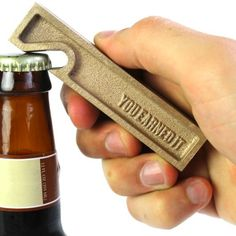 "Owen and Fred ""You Earned It"" Brass Bottle Opener Beer Opener, Can Opener, Kraft Gift Boxes, Bar Accessories, Fix You, Best Dad, Box Design, Design Ideas, Gifts For Dad"